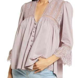 New Free People Esme Button-Up Top in Lavender